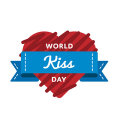 World kiss day greeting emblem vector