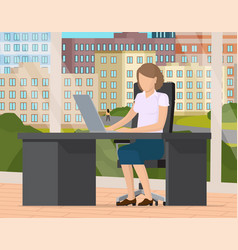young business woman at desk is working on the vector image