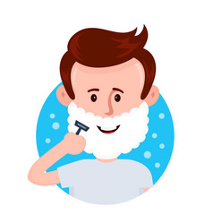 young man shaving face with foam vector image