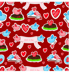 birds in love and friendship seamless background vector image
