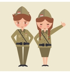 couple kids cartoon wearing freedom fighter army vector image