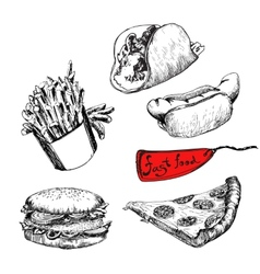 Fast food Set of vector image vector image