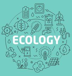 green line flat circle ecology vector image vector image