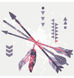 grunge of different ethnic arrows with feath vector image