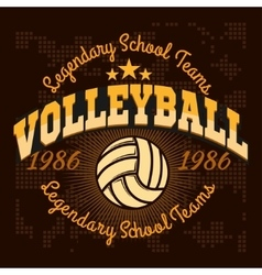 Volleyball championship logo with ball - vector image vector image