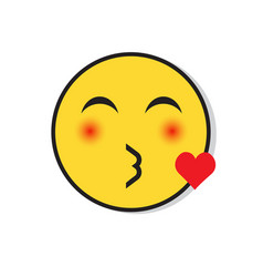 Yellow smiling face sending blow kiss positive vector