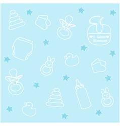 Baby boy elements blue background vector