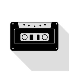 cassette icon audio tape sign black icon with vector image vector image
