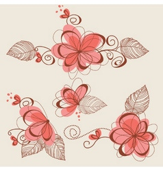 Floral elements page decorations vector image vector image