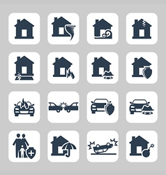 Insurance and accidents icon set vector image vector image