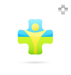 medical cross logo with human body inside vector image