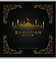 premium ramadan kareem festival golden background vector image