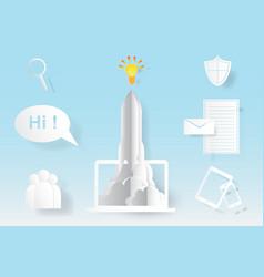 computer startup rocket idea concept vector image