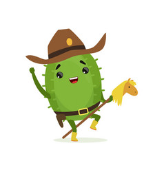 cute cactus cowboy funny plant character riding vector image