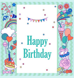Happy birthday holiday card with stars sweets vector