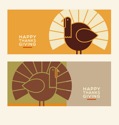 happy thanksgiving banners vector image vector image
