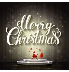 Large white lettering Merry Christmas Santa Claus vector image