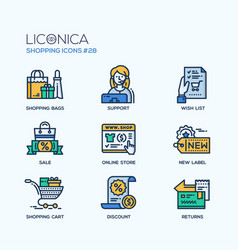 Shopping - modern flat line icon set vector