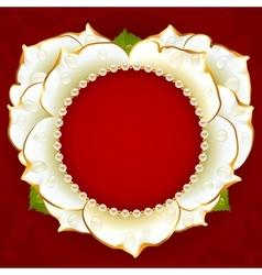 white Rose heart frame vector image vector image