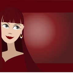 Background with cute face of girl vector image vector image