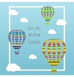 Coloorful hot air balloon in the cloudy sky vector image