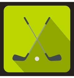 Golf clubs with ball icon flat style vector image
