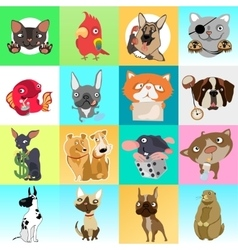 Great set of icons with different animals vector