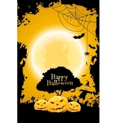 Halloween Background with Pumpkin and Scarecrow vector image