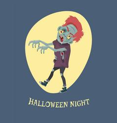 halloween night spooky zombie vector image