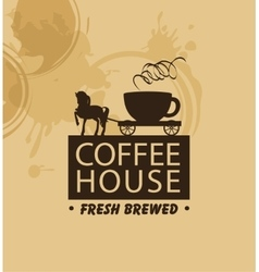 horse and wagon with a cup of coffee vector image vector image