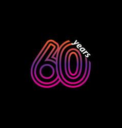 60 years anniversary celebration line color retro vector