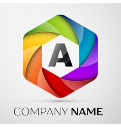 A Letter colorful logo in the hexagonal on grey vector