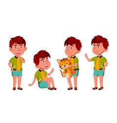 asian boy kindergarten kid poses set vector image