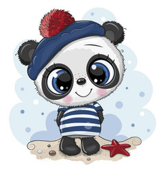 bacartoon panda in sailor costume vector image