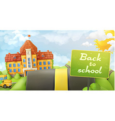 Back to school road and sign cartoon background vector
