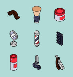 Barber shop outline isometric set vector