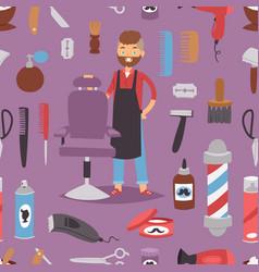 barbershop hairdresser beard hipster man vector image