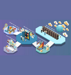 big data analytics isometric composition vector image