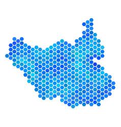 Blue hexagon south sudan map vector