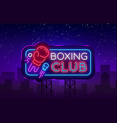 boxing club neon sign boxing night design vector image