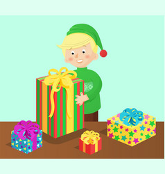 Boy and presents on table vector