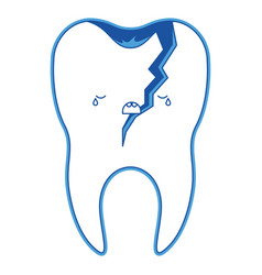 Broken kawaii tooth with root in blue silhouette vector