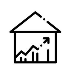 Building house and arrow thin line icon vector