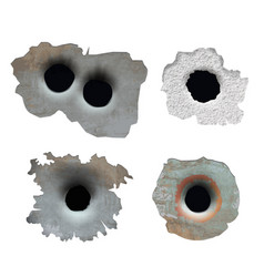 bullet hole crush damaged crack glass from gun vector image