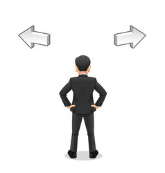 Businessman looking to select right way vector