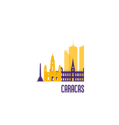 caracas city emblem colorful buildings vector image