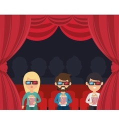 characters watching 3d film cinema vector image