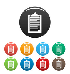 Check paper tax icons set color vector