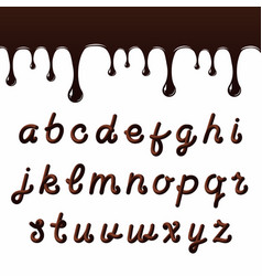 chocolate font with latin letters melted vector image