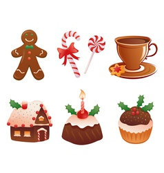 Christmas desserts vector